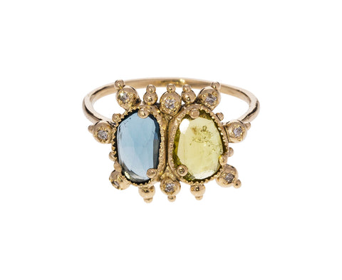 Blue and Yellow Tourmaline Ring with Diamonds - TWISTonline