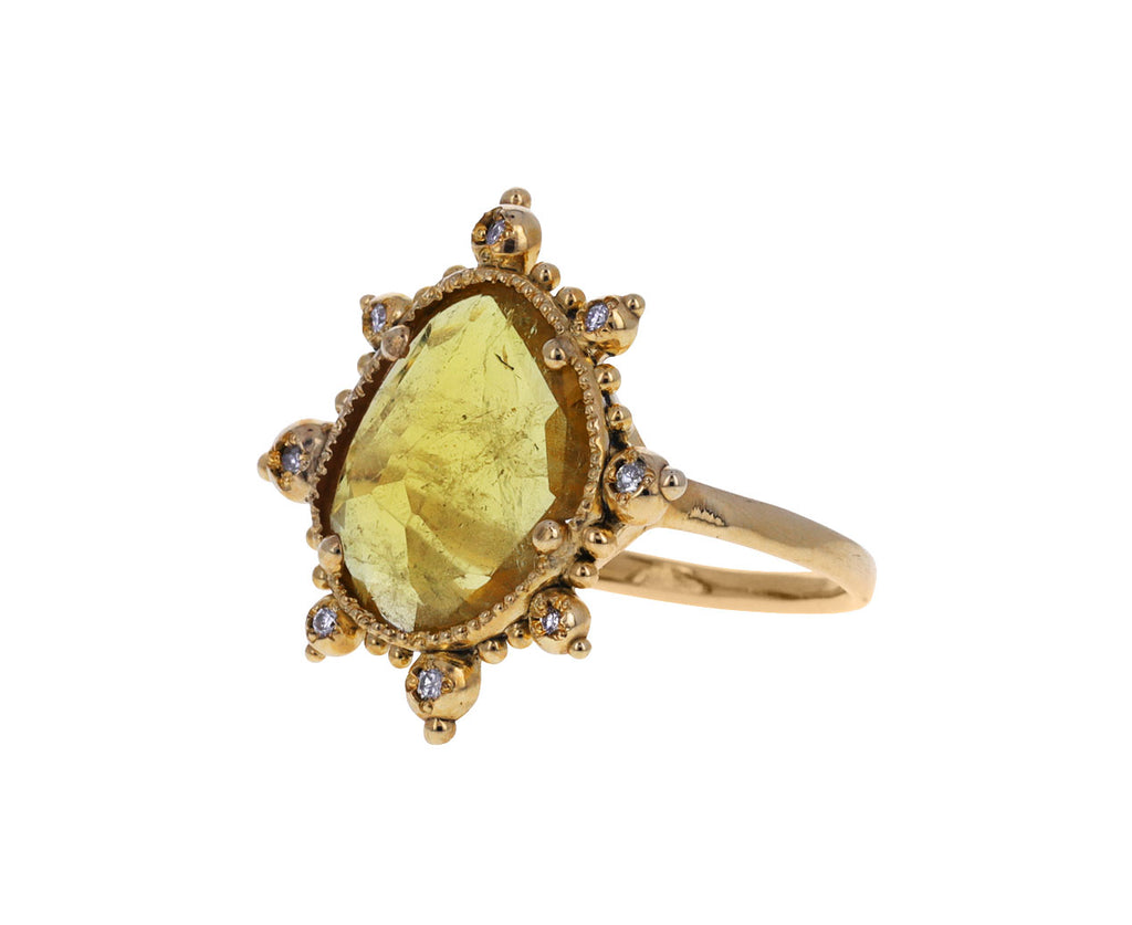 Yellow Tourmaline and Diamond Ring