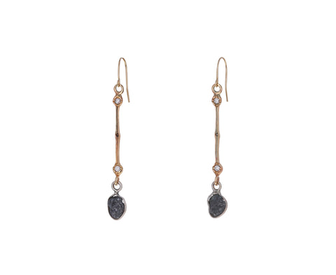 Raw Diamond Drop Earrings