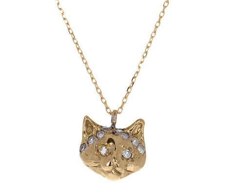 Diamond Cat Pendant Necklace