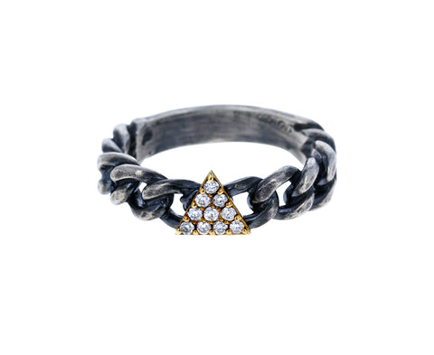 Silver and Diamond Triangle Chain Ring - TWISTonline