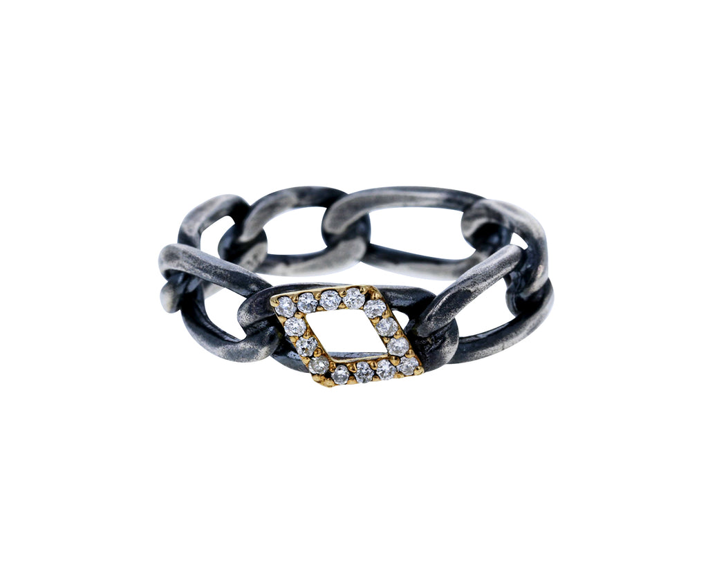 Silver and Diamond Chain Ring - TWISTonline