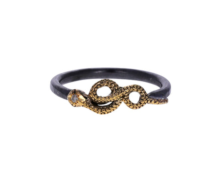 Silver and Gold Large Serpent Ring