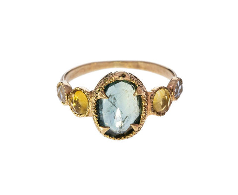 Blue Sapphire Citrine and Crystal Ring - TWISTonline