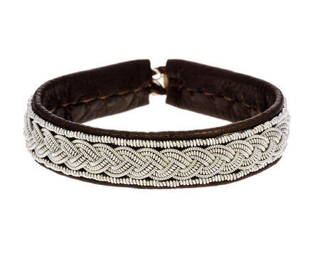 Brown Leather and Braided Pewter Bracelet - TWISTonline