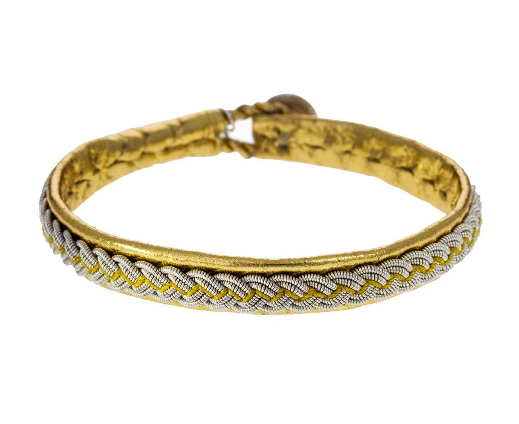Gold Leather and Braided Pewter Bracelet zoom 1_maria_rudman_gold_leather_pewter_bracelet1
