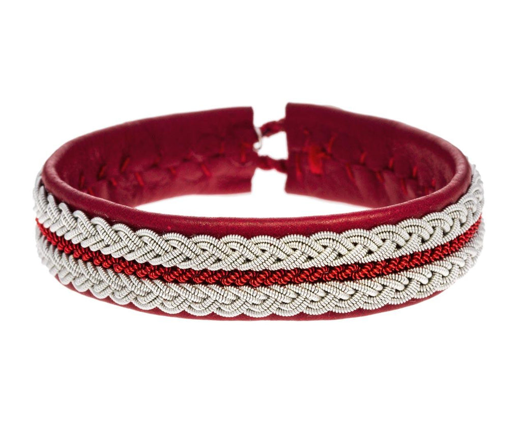 Red Leather Pewter Bracelet zoom 1_maria_rudman_red_leather_pewter_bracelet