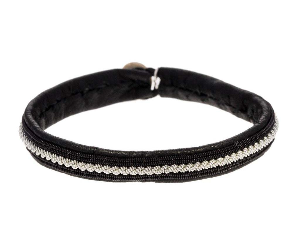 Thin Black Leather Pewter Bracelet - TWISTonline