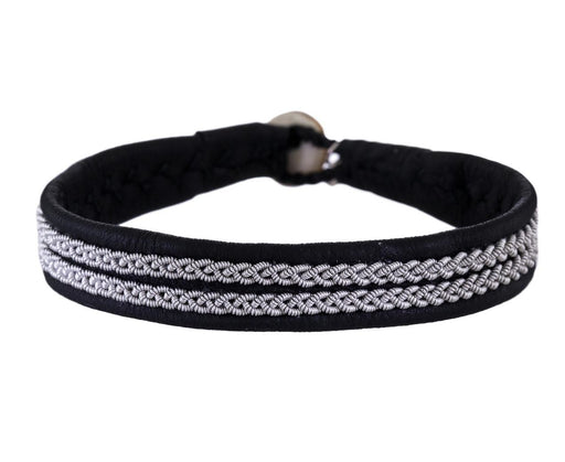 Black Leather and Emboridered Pewter Bracelet - TWISTonline