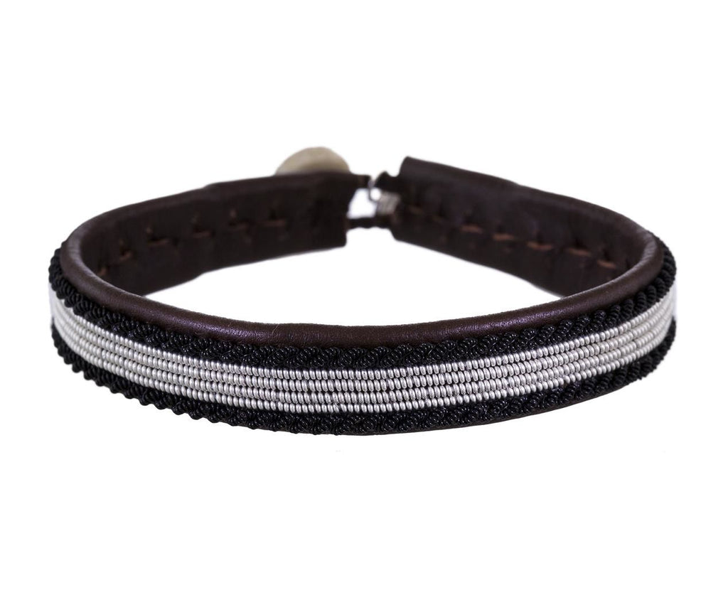Black and White Emboridered Brown Leather Bracelet - TWISTonline