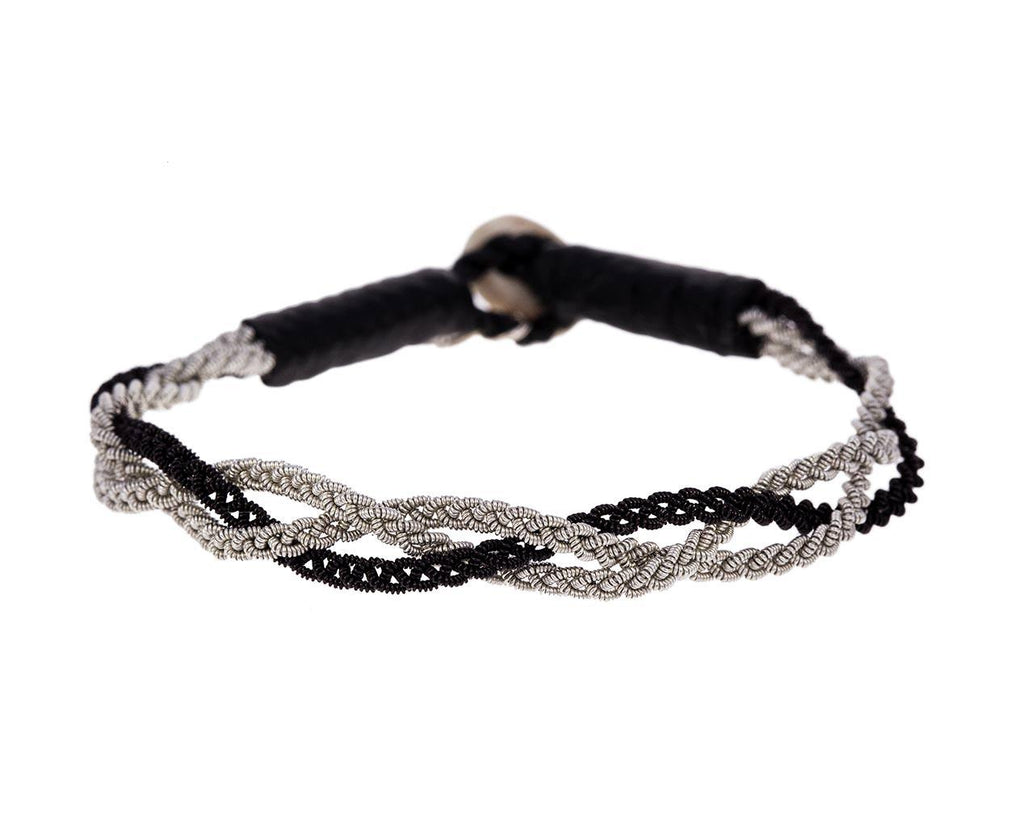 Black and White Pewter Braided Bracelet  zoom 1_maria_rudman_pewter_leather_embroidered_bracelet