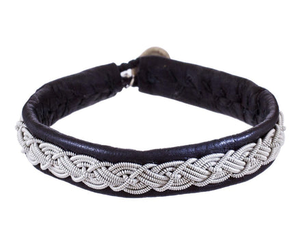 Braided Pewter and Black Leather Bracelet - TWISTonline