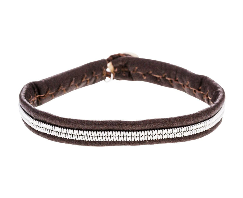 Thin Brown Leather and Pewter Bracelet - TWISTonline