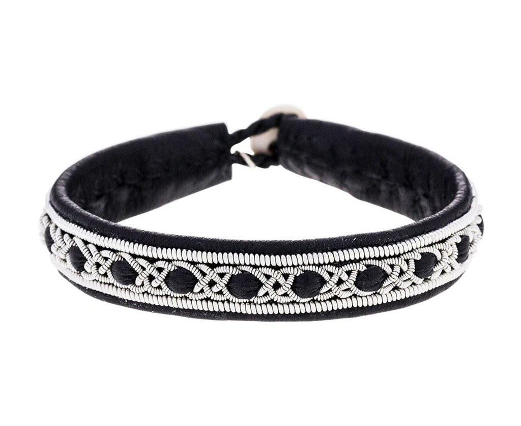 Woven Black Leather and Pewter Bracelet zoom 1_maria_rudman_embroidered_leather_bracelet