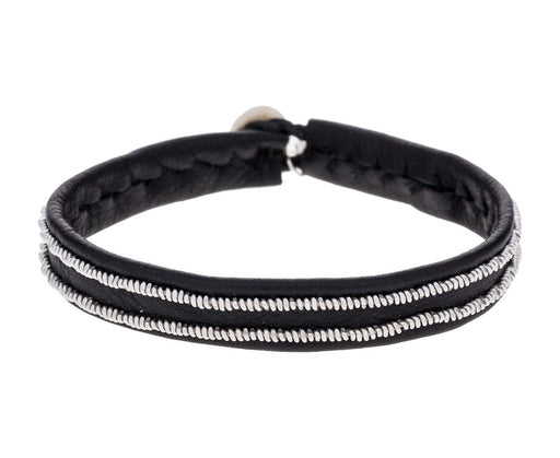 Thin Black Leather and Two Pewter Row Bracelet - TWISTonline