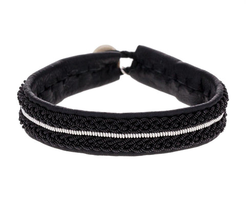 Black Pewter Braided Leather Bracelet - TWISTonline