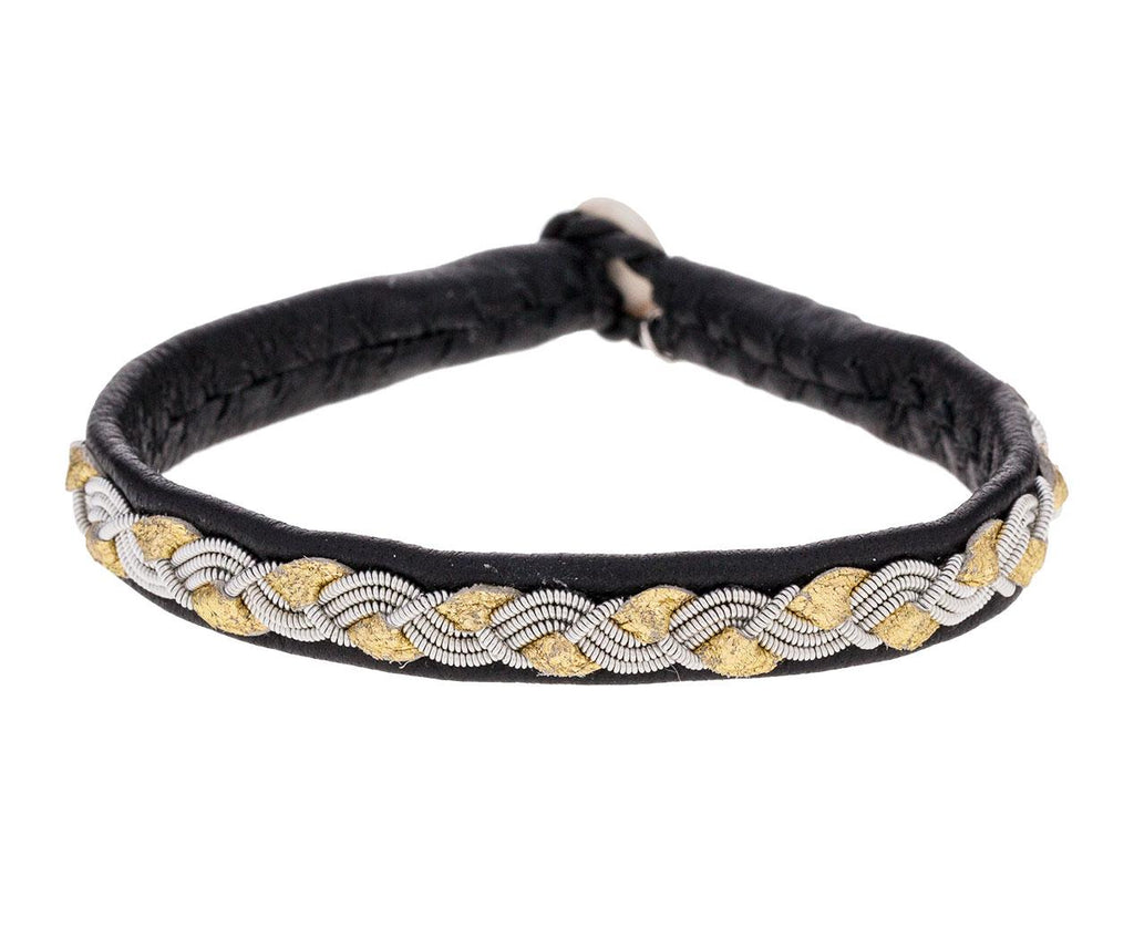 Black Leather and Gold and Pewter Braid Bracelet - TWISTonline