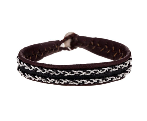 Leather and Woven Pewter Cuff Bracelet - TWISTonline