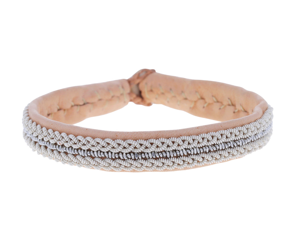 Light Peach Leather and Pewter Bracelet