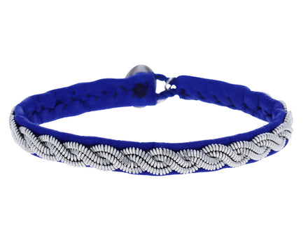 Thin Blue Leather and Pewter Bracelet