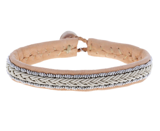 Thin Pale Pink Braided Pewter Leather Bracelet