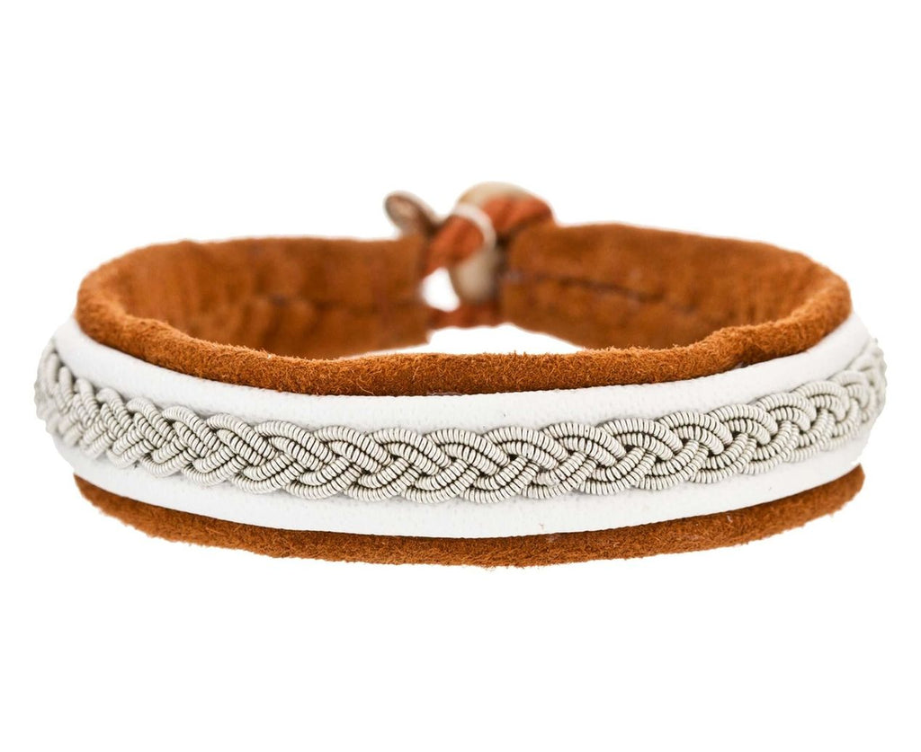 White and Caramel Leather Embroidered Pewter Bracelet - TWISTonline