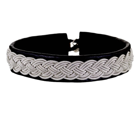 Black Leather Embroidered Pewter Bracelet - TWISTonline