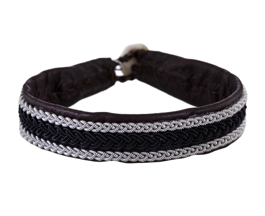 Brown and White Pewter Leather Bracelet - TWISTonline