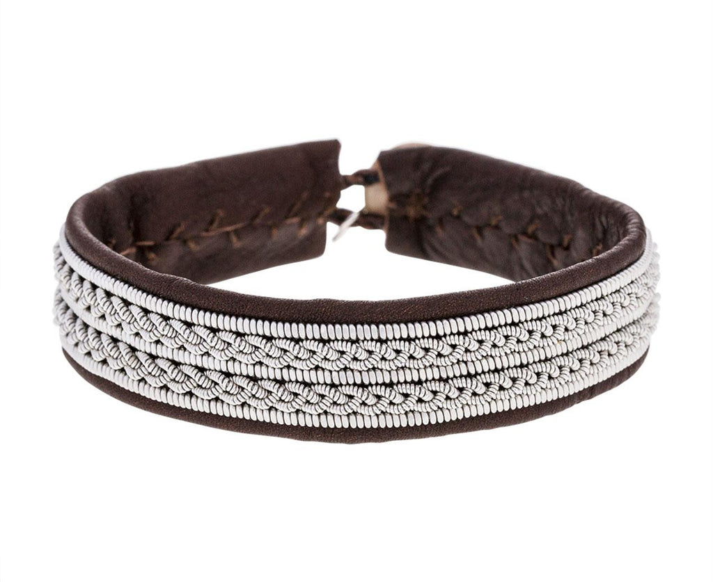 Brown Leather and Double Braided Pewter Bracelet zoom 1_maria_rudman_embroidered_leather_bracelet