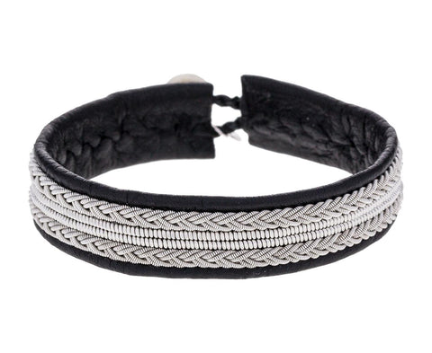 Black Leather and Braided Pewter Bracelet - TWISTonline