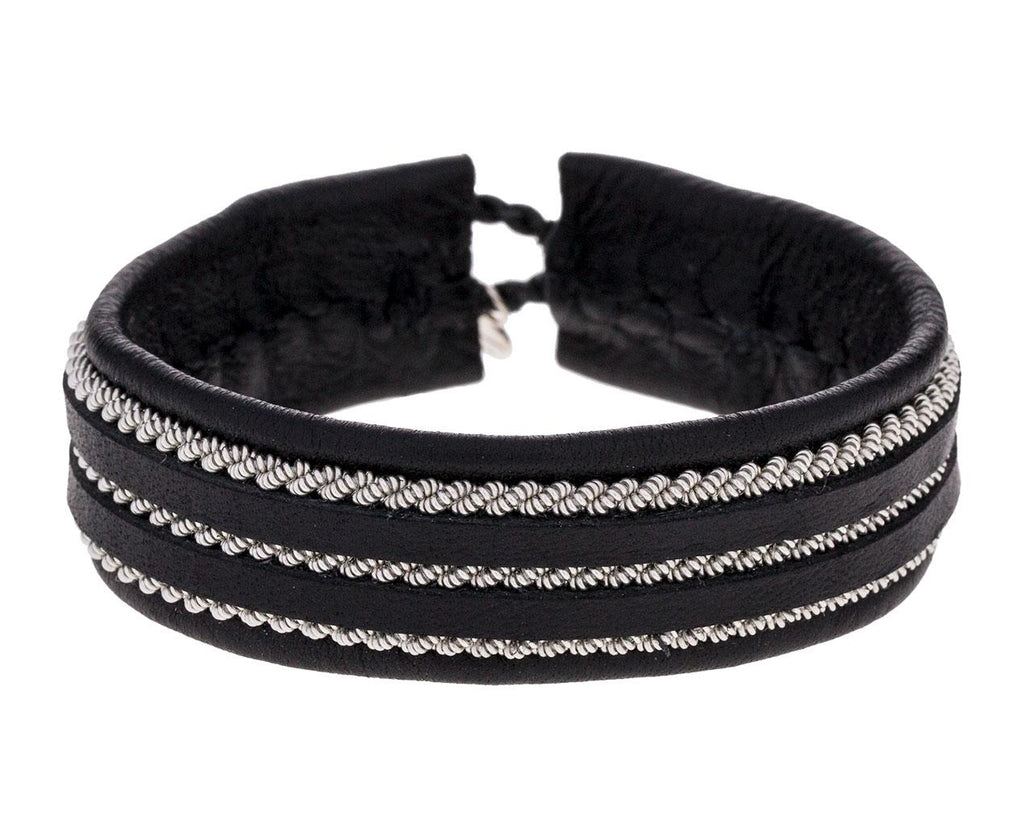 Triple Row Black Leather and Pewter Bracelet - TWISTonline
