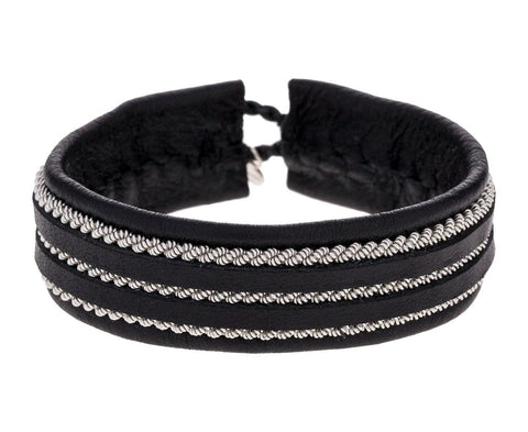 Triple Row Black Leather and Pewter Bracelet zoom 1_maria_rudman_leather_pewter_woven_bracelet