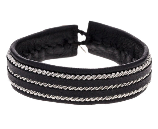 Black Leather and Triple Twisted Pewter Bracelet - TWISTonline