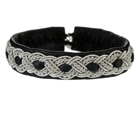 Black Leather Bracelet with Woven Pewter Braid - TWISTonline