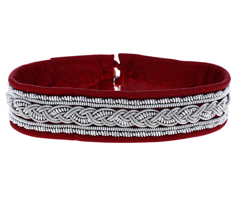Red Leather and Braided Pewter Bracelet