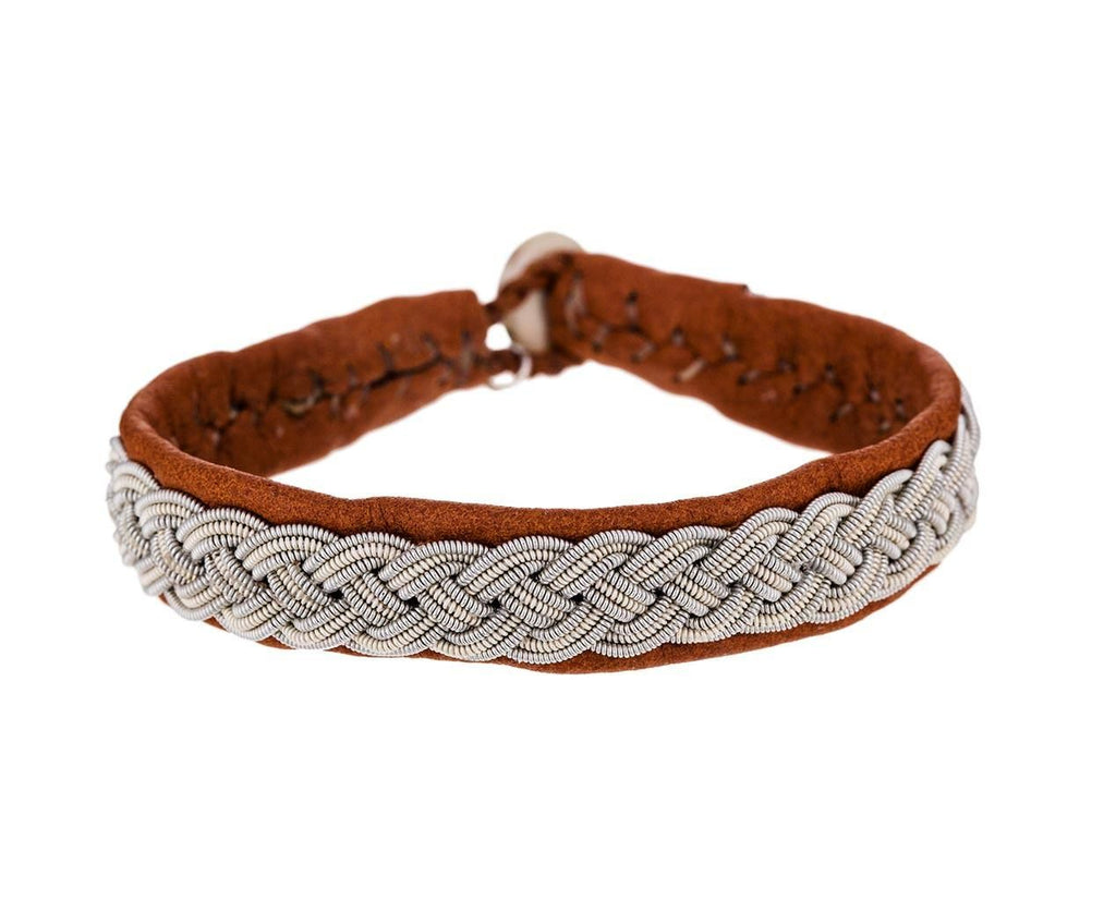Brown Leather and Woven Pewter Cuff Bracelet zoom 1_maria_rudman_woven_pewter_leather_bracelet