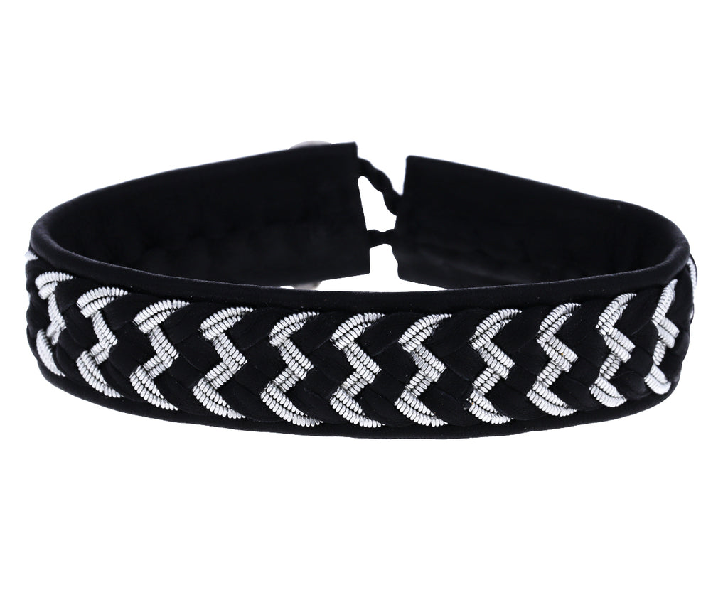 Braided Black Leather and Pewter Bracelet