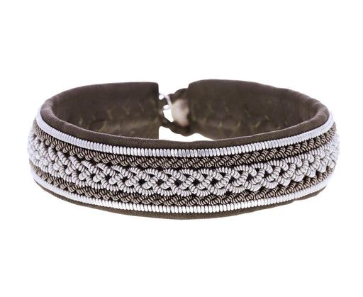 Beige Leather and Pewter Bracelet