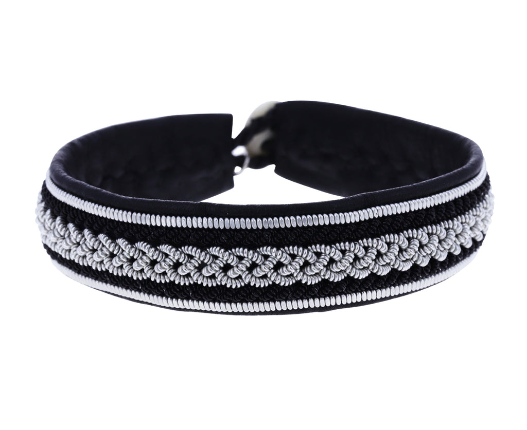 Two Tone Black Leather and Pewter Bracelet