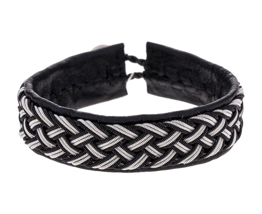 Thick Black Leather and Braided Pewter Bracelet - TWISTonline