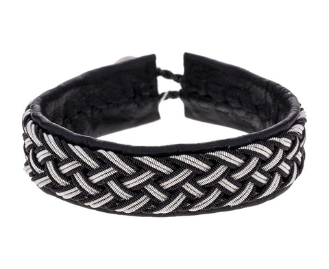 Thick Black Leather and Braided Pewter Bracelet zoom 1_maria_rudman_leather_pewter_woven_bracelet