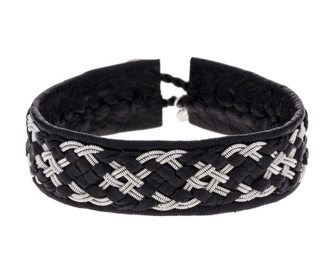 Thick Black Braided Leather and Pewter Bracelet zoom 1_maria_rudman_leather_pewter_woven_bracelet
