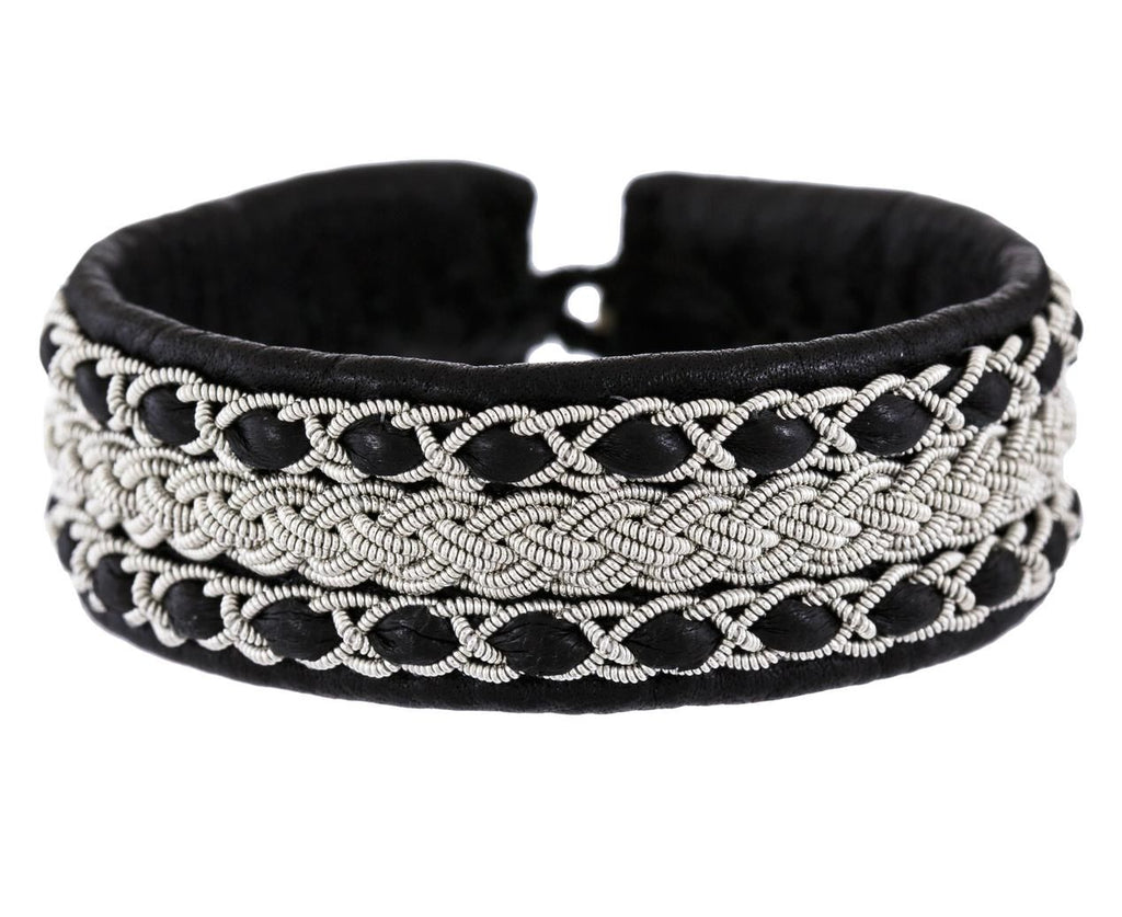 Black Leather and Embroidered Pewter Bracelet - TWISTonline