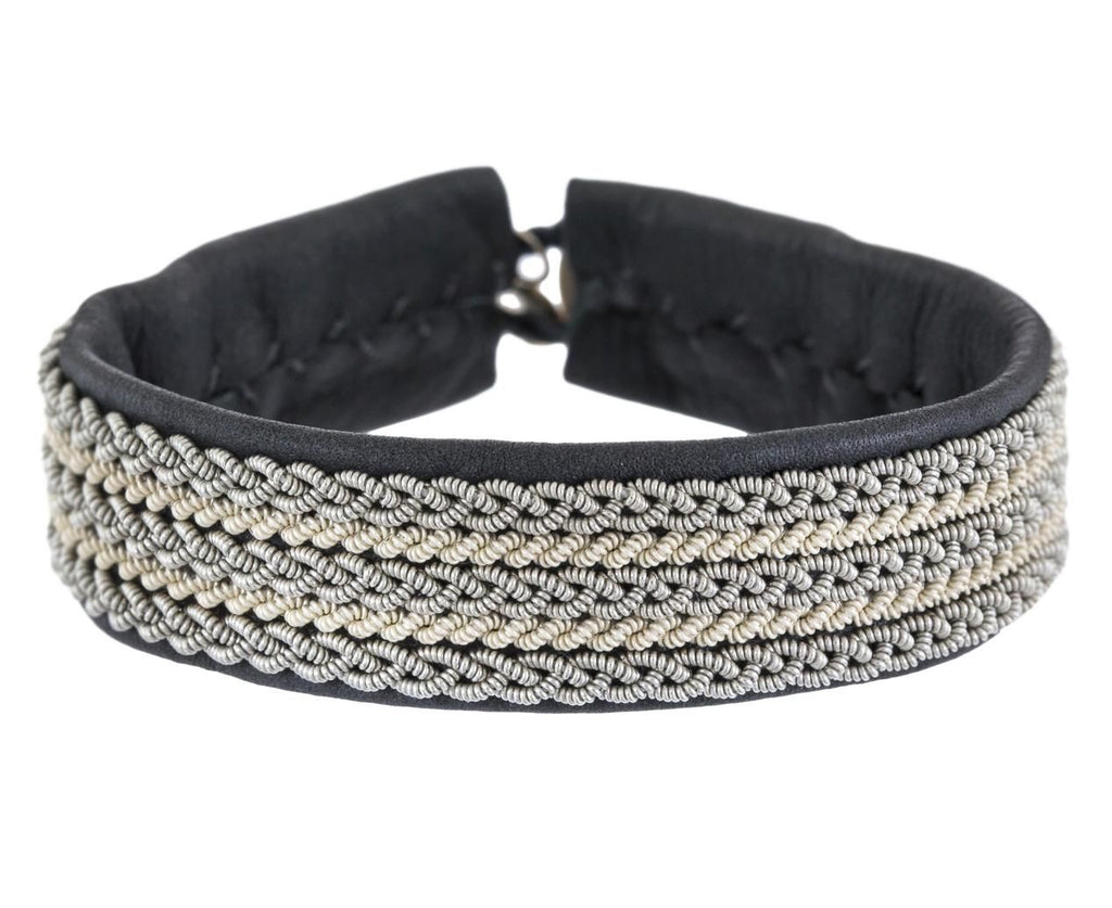 White and Silver Braided Pewter Bracelet  zoom 1_maria_rudman_grey_leather_pewter_white_bracelet