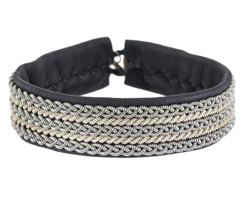 White and Silver Braided Pewter Bracelet - TWISTonline
