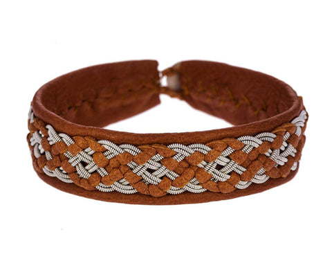 Large Leather Embroidered Pewter Bracelet - TWISTonline