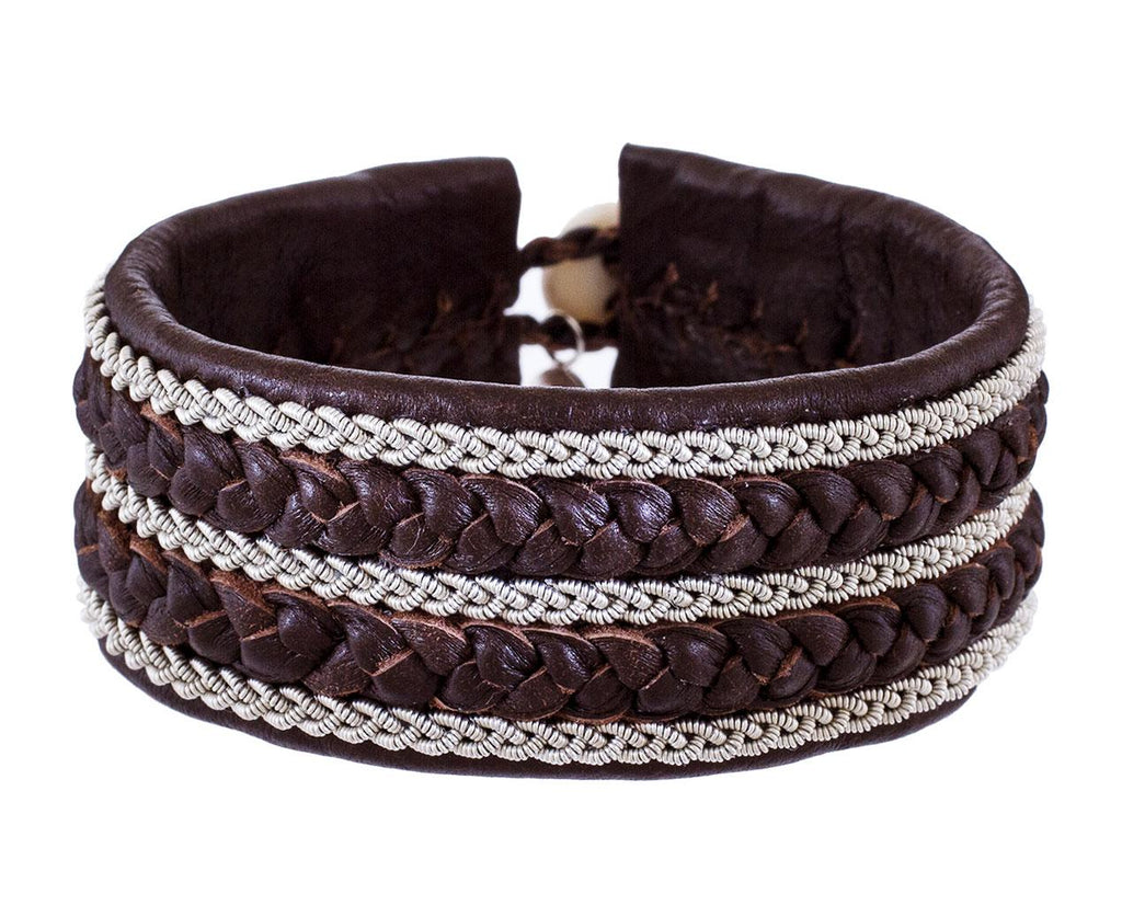 Wide Brown Leather and Pewter Bracelet zoom 1_maria_rudman_brown_leather_braided_pewter_bracel