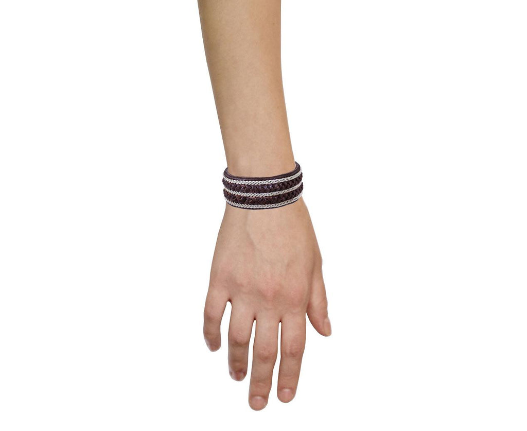 Wide Brown Leather and Pewter Bracelet - TWISTonline