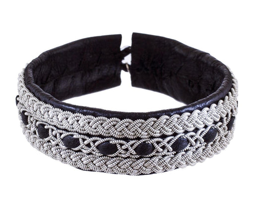 Woven Pewter and Black Leather Bracelet - TWISTonline