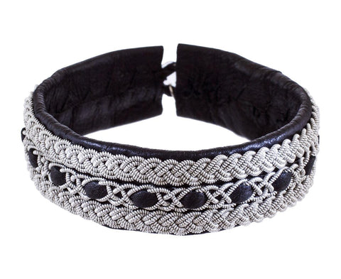 Woven Pewter and Black Leather Bracelet zoom 1_maria_rudman_black_leather_braided_pewter_bracel